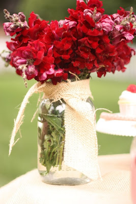 Mason Jar vase tied with burlap